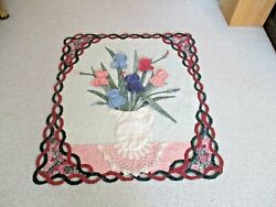 Older 45 X 39 Baby Crib Quilt Comforter-floral Applique Pitcher And Lace