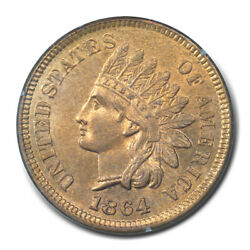 1864 1c L On Ribbon Indian Cent - Type 3 Bronze Pcgs Ms63 Rd Cac