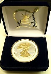 Specialwedding Day Gift 1oz 2021 999 Silver Eagle W/gilded 24kt Gold And Wht Rim