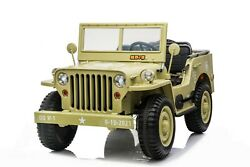 12v Kids Ride On Truck Rc Electric Green Army Jeep 3 Seat Xl Willy Style Vintage