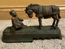 Antique Jande Stevens Always Did And039spise A Mule Bench Cast Iron Mechanical Bank