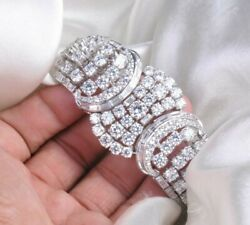 Solid 925 Sterling Silver Sparkly White Round And Baguette Cz Bracelet For Women