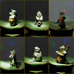 Vintage Porcelain Cat Orchestra 6 Miniature Figurines By Klima Collectable Kyd