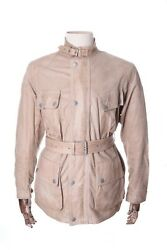 Menand039s Belstaff Panther Beige 80 Anni Belted Perforated Leather Jacket Size L