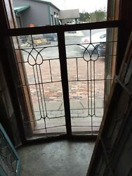 Sg 952 Matched Pair Antique Leaded Glass Bookcase Doors