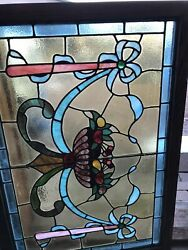 Sg 3491 Antique Stained Glass Fruit Bowl Window 27.75 X 40