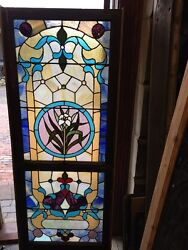 Sg 1103 Antique Floral Stainglass Landing Window 28 X 68 And Three-quarter