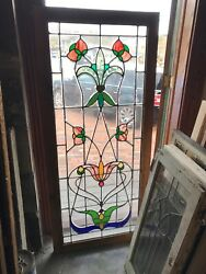 Sg 3047 Antique Beveled And Stained Glass Landing Window 28 1/2 X 64