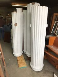 """Set Of Antique Tapered Fluted Wood Exterior Columns And Capitals 9' X 28"""""""