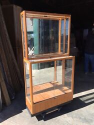 Ca 17 Two Available Antique Small Wood And Glass Showcase Display Case