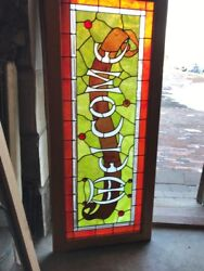 Sg 1825 Antique Stained And Beveled Jeweled Welcome Sign 23 X 55.5