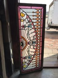 Sg 2065 Antique Heavily Jeweled Stained Glass Transom 19 X 47.75