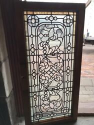 Sg 2070 Antique Collector Grade Stained Glass Transom Window 24 X 42