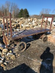 Antique Steel Mill Lumber Yard Factory Cart 10andrsquo X 42 High