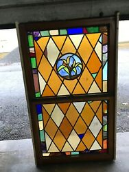 Can 1 Antique Double Hung Stained Glass Window Lillys 34.5 X 59.5