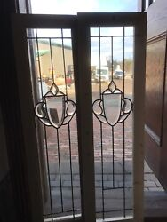 Sg 2238 Match Pair Antique Beveled And Leaded Glass Sidelight Windows 18 X 40