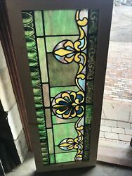 Sg3502 Antique Painted And Fired Stained Glass Transom Window 22 X 54.5