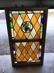 Can 6 Antique Double Hung Stained Glass Window Grapes 34.5 X 59.5