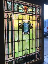 Sg 3522 Antique Stained Glass Landing Window 46.5 X 66.5