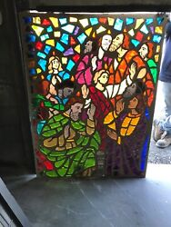 Mc 11 Antique Chunk Stained Glass Window Young Jesus With People 44 X 59