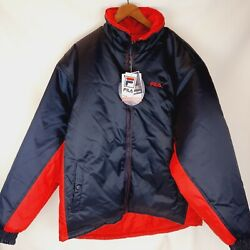 Nwt Fila Reversible Blue And Red Insulated Puffer Jacket Large Logo Men's L