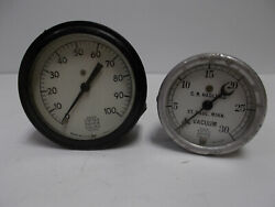Lot Of 2 Vintage Vacuum Us Gauge Co Ny Gauges Ad-2215 2 And Ad-3823 2 1/2
