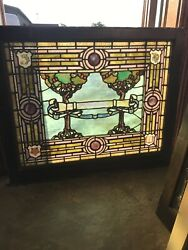 Sg3367 Antique Rudy Brothers Stained Glass Window Tree Of Life 38.5 X 32