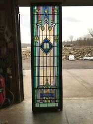 Rick Shop Antique Holy Bible Painted And Fire Stained Glass Window 30.75 X 105.5