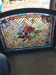 Sg 3128 Antique Stained Glass Flower Pattern Arch Window 27.5 X 37.75