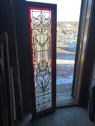 Sg 3135 Antique Stained Textured And Jeweled Landing Window 18.5 X 70.5