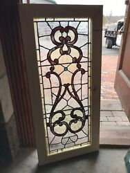 Sg 3217 Antique French Crackle Stained Glass Window 19 X 41.75