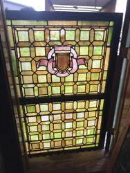 Sg 2517 Antique Stainglass Double Hung Landing Window 40.5 X 63.75