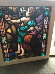 Sg 2444 Antique Painted In Fired Church Window Child With Apple 28.5 X 31.5