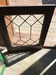 Sg 2184 Antique Leaded Glass Window 15 And Five Eights By 18.75
