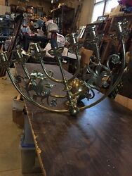 Lt 100 Very Fancy Antique All Brass Seven Light Wall Sconce Large