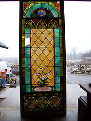 Stained Glass Window W/ Flower And Mighty Golden Chalice 3