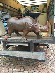 Antique All Wood Carved Rhinoceros Very Heavy