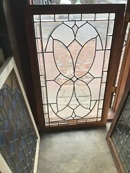 Sg2951 Antique Beveled And Textured Glass Landing Window 31.5 X 50.75