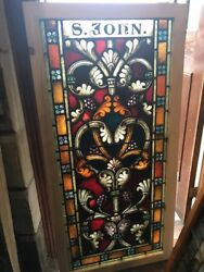 Sg 2507 Antique Painted In Fired St. John Window 29 X 59.75