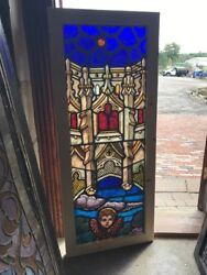 Sg 2525 Antique Painted In Fired Cherub Window With Architecture And Sky 21 X 51