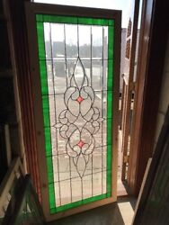 Sg 2195 Antique Beveled And Stained Glass Landing Window 29.5 X 71.5
