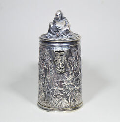 527 Grams Antique Chinese Silver-metal Tankard 1850 Statue