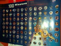 Nasa Space Shuttle Vintage 2000 1st 100 Shuttle Mission Badge Patches Poster