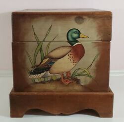 Vintage Waterfowl Ducks Geese Wooden Storage Hand-painted Decorative Box Signed