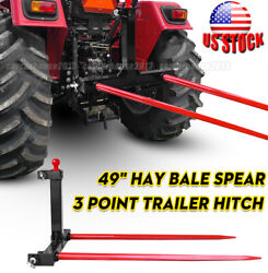 """1 Tractors 3 Point Trailer Hitch Quick Attach Bale Spear + 2x 49"""" Hay Bale Spear"""
