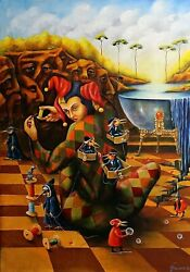 Original Painting Oil Canvas Contemporary Art Surrealism By Pronkin Guest Bosch