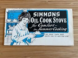 Antique Simmons Oil Cook Stove Kitchen Appliance Advertising Brochure Catalog