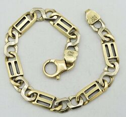 14k Two Tone Gold Solid Figure 8 Link Bracelet Italian Made 8.5 8mm 25.3g S1774