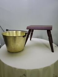 Antique Primitive Wood Small Milking Stool And Brass Milk Bucket Set