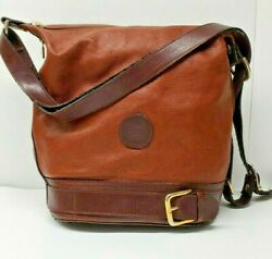 Valentina Brown Leather Satchel Purse Made Italy Buckle Detail $33.59